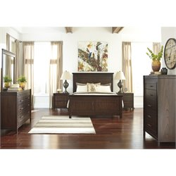 Ashley Timbol 5 Piece Queen Panel Bedroom Set in Warm Brown