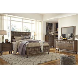 Ashley Debeaux 5 Piece Queen Panel Bedroom Set in Medium Brown