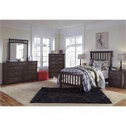 Ashley Strenton 4 Piece Twin Sleigh Bedroom Set in Brown