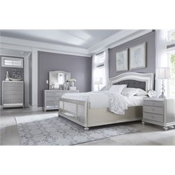 Ashley Coralayne 5 Piece Queen Upholstered Bedroom Set in Silver