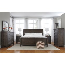 Ashley Trudell 5 Piece King Panel Bedroom Set in Dark Brown