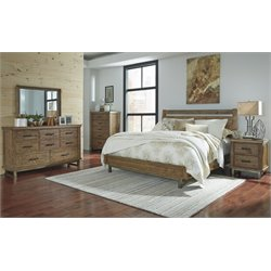 Ashley Dondie 5 Piece Panel Bedroom Set in Warm Brown