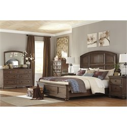 Ashley Maeleen 5 Piece King Panel Bedroom Set in Medium Brown
