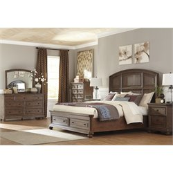 Ashley Maeleen 5 Piece King Storage Panel Bedroom Set in Medium Brown