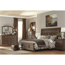 Ashley Maeleen 5 Piece Queen Sleigh Bedroom Set in Medium Brown