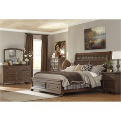 Ashley Maeleen 5 Piece Queen Storage Sleigh Bedroom Set in Brown