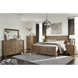 Ashley Tamilo 5 Piece California King Panel Bedroom Set in Brown