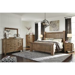 Ashley Tamilo 5 Piece California King Poster Bedroom Set in Brown