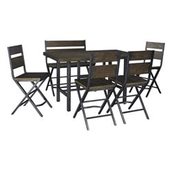Ashley Kavara 6 Piece Counter Height Dining Set in Medium Brown