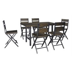 Ashley Kavara 7 Piece Counter Height Dining Set in Medium Brown
