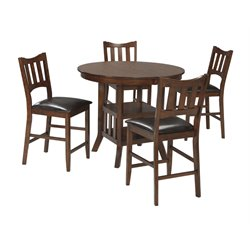 Ashley Renaburg 5 Piece Counter Height Dining Set in Medium Brown