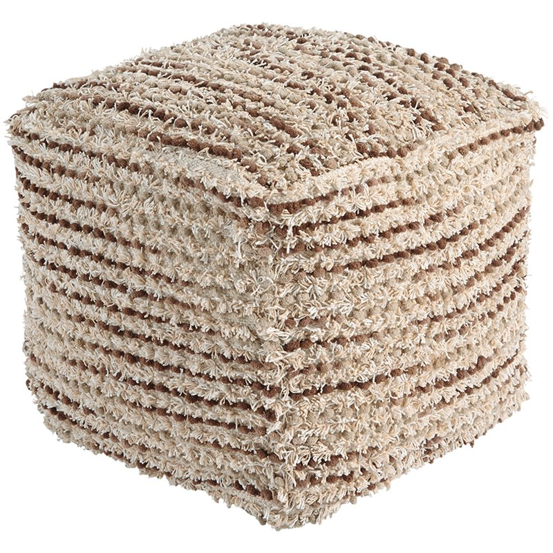 Ashley Jorge Shaggy Square Pouf in Brown and Cream