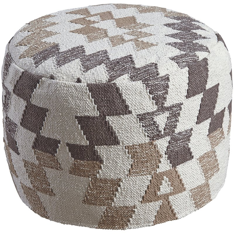 Ashley Abraham Geometric Round Pouf in White and Brown