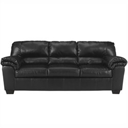 Ashley Commando Faux Leather Sofa in Black
