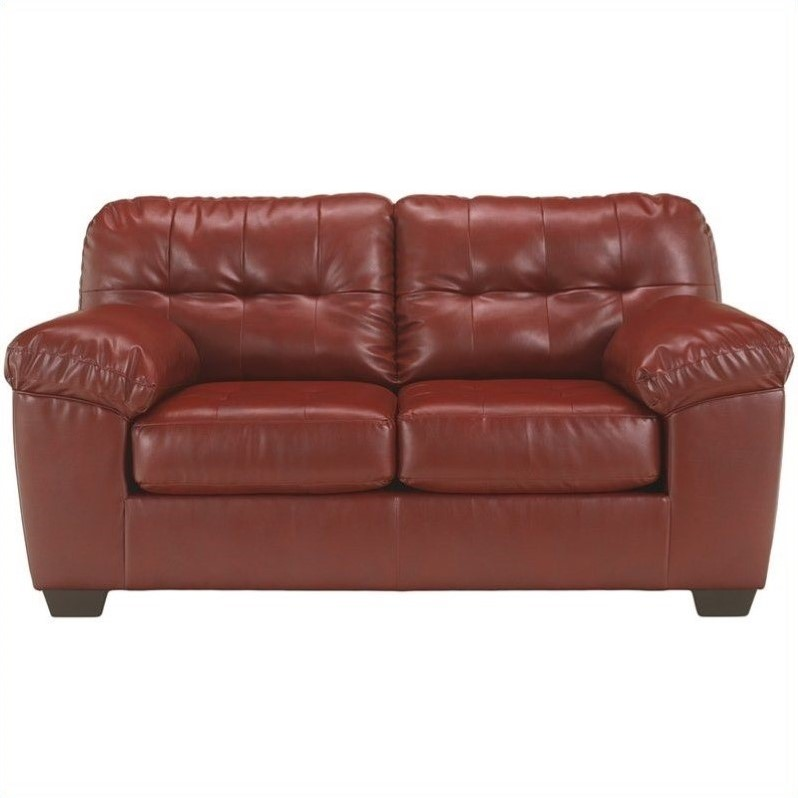 Ashley Furniture Alliston Leather Loveseat in Salsa