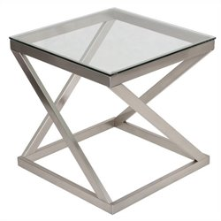 Signature Design by Ashley Furniture Coylin End Table in Brushed Nickel