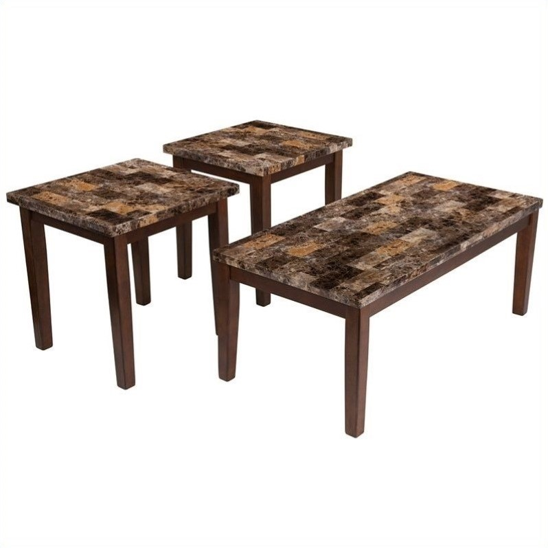 Ashley Furniture Theo 3 Piece Occasional Table Set In Warm