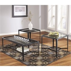Signature Design by Ashley Furniture Calder 3 Piece Coffee Table Set in Black Bronze