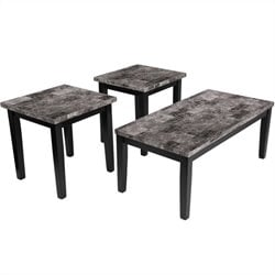Signature Design by Ashley Furniture Maysville 3 Piece Occasional Table Set in Black