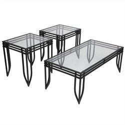 Signature Design by Ashley Furniture Exeter 3 Piece Occasional Table Set in Black