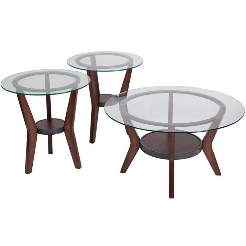 Ashley Furniture Fantell Piece Occasional Table Set In Dark Brown - Ashley furniture high top table