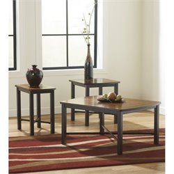 Signature Design by Ashley Furniture Fletcher 3 Piece Occasional Table Set in Dark Bronze