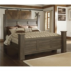 Signature Design by Ashley Furniture Juararo Poster Bed in Dark Brown - Queen