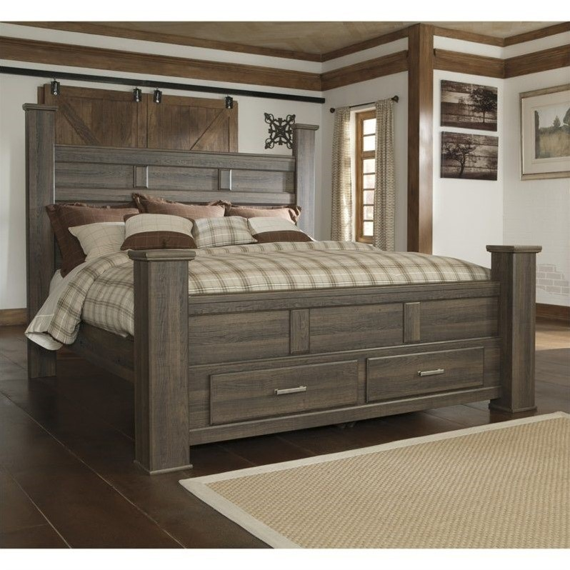 Signature Design By Ashley Furniture Juararo Poster Storage Bed In Dark Brown B251 Postb Mkit