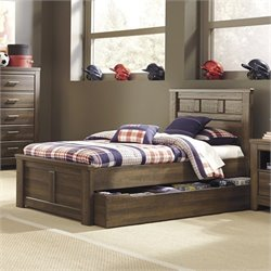 Signature Design by Ashley Furniture Juararo Panel Bed with Trundle in Dark Drown - Twin