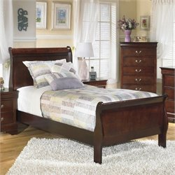 Signature Design by Ashley Furniture Alisdair Sleigh Bed in Warm Dark Brown - Twin