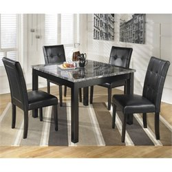 Signature Design by Ashley Furniture Maysville 5-Piece Square Dining Table Set in Black
