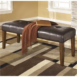 Ashley Furniture Lacey Upholstered Dining Room Bench in Medium Brown