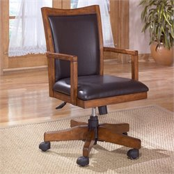 Signature Design by Ashley Furniture Cross Island Swivel Wood Office Chair in Medium Brown