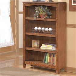 Signature Design by Ashley Furniture Cross Island Medium 4-Shelf Bookcase in Medium Brown