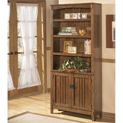 Ashley Furniture Cross Island 4 Shelf Bookcase in Medium Brown