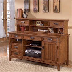 Signature Design by Ashley Furniture Cross Island Credenza and Short Hutch in Medium Brown