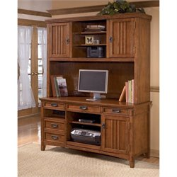 Signature Design by Ashley Furniture Cross Island Credenza and Tall Hutch in Medium Brown
