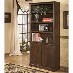 Signature Design by Ashley Furniture Hamlyn Large Door 4-Shelf Bookcase in Medium Brown