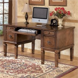 Signature Design by Ashley Furniture Hamlyn Office Storage Leg Desk in Medium Brown