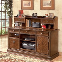 Ashley Furniture Hamlyn Large Credenza and Hutch in Medium Brown