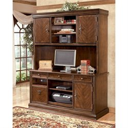 Ashley Furniture Hamlyn Large Credenza and Tall Hutch in Medium Brown