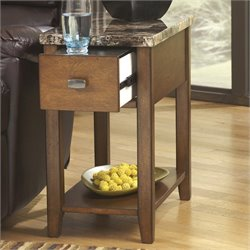 Signature Design by Ashley Furniture Breegin 1-Drawer Chairside Marble Top End Table in Brown