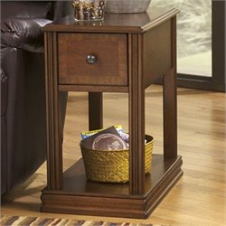Signature Design by Ashley Furniture Breegin 1-Drawer Chairside End Table in Cherry