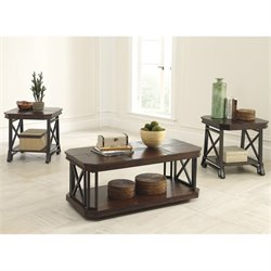 Signature Design by Ashley Furniture Vinasville 3 Piece Occasional Table Set in Medium Brown