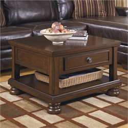 Ashley Furniture Porter Lift Top Cocktail Table in Rustic Brown