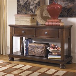 Ashley Furniture Porter 2 Drawer Console Table in Rustic Brown