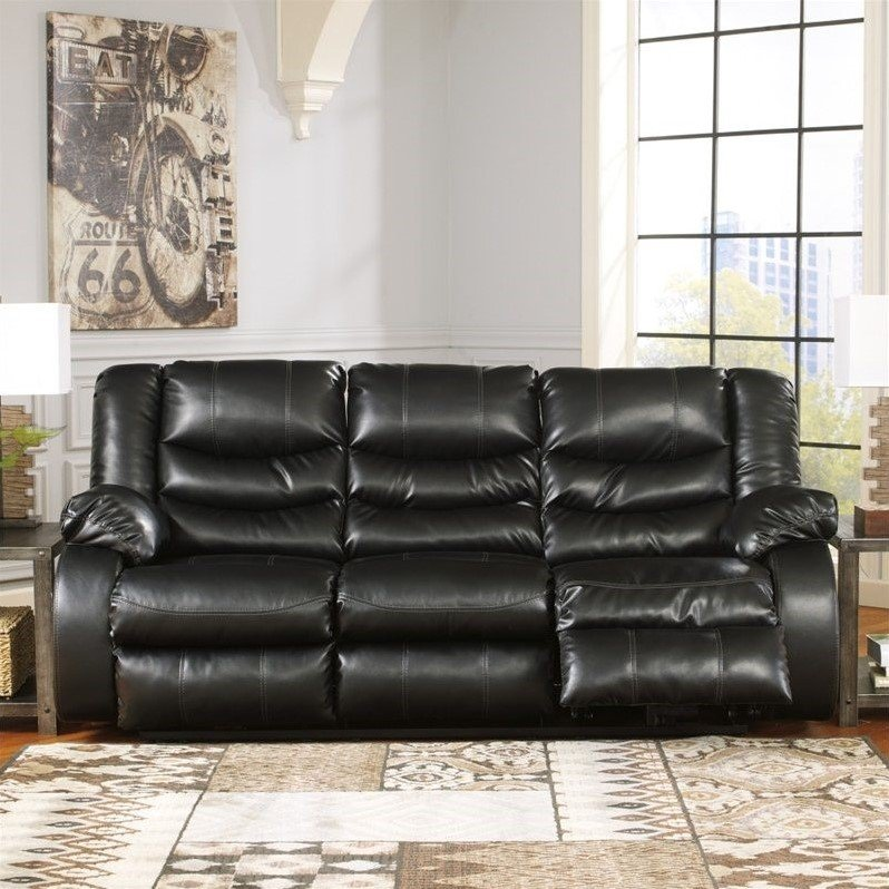 Ashley Furniture Linebacker Leather Reclining Sofa In Black
