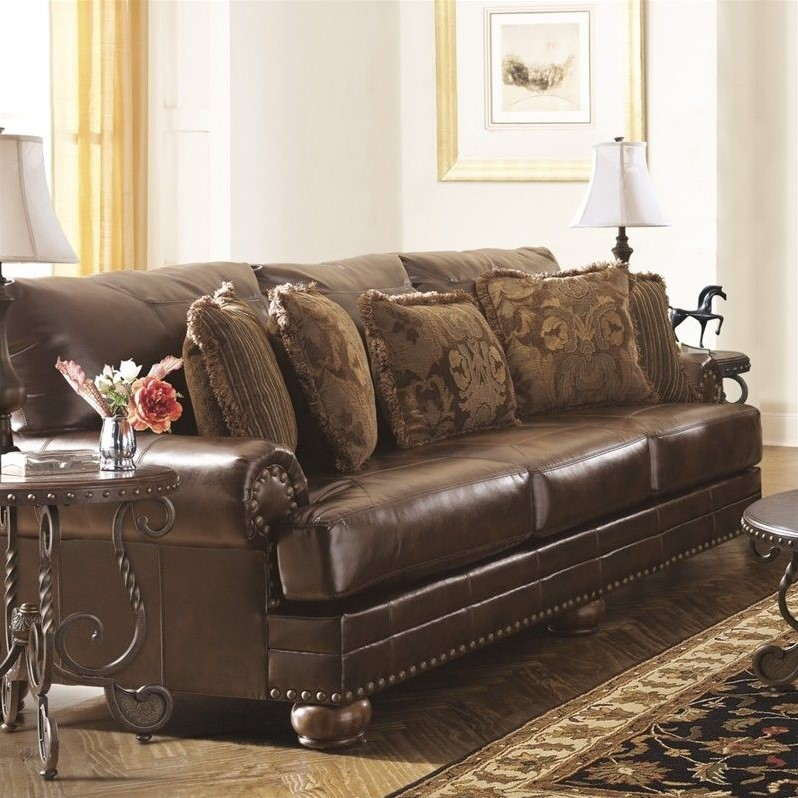 Ashley Furntiure: Ashley Furniture Chaling Leather Sofa In Antique