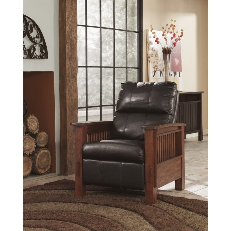 Ashley Furniture Santa Fe High Leg Faux Leather Recliner In Chocolate 1990126