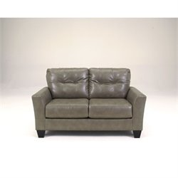 Ashley Furniture Paulie Leather Loveseat in Quarry